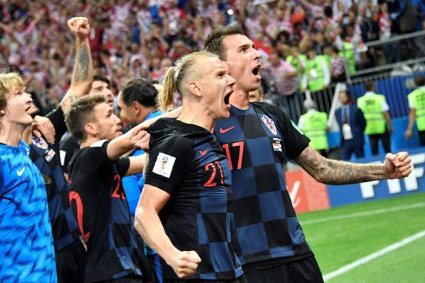 England try to score while Croatia celebrate second goal