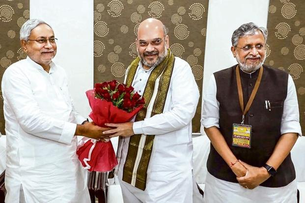 (From left) Bihar CM Nitish Kumar with BJP chief Amit Shah and Bihar deputy CM Sushil Kumar Modi in Patna on Thursday.