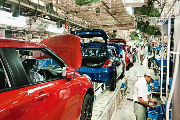 Maruti Suzuki plant in Manesar, Haryana. The lithium-ion batteries will be fitted in the Swift hatchback and all models that are more expensive than it, two people aware of the development said. Photo: Ramesh Pathania/Mint