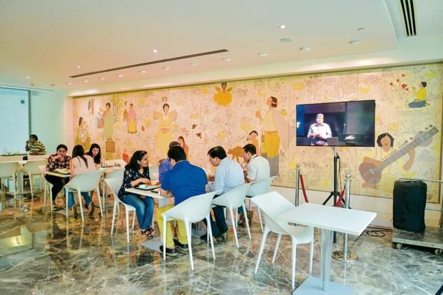 A mural canvas, 'JSW', by Dhruvi Acharya at the company's cafeteria. Photo: Aniruddha Chowdhury/Mint