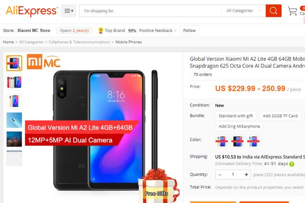The Mi A2 Lite is listed in two variants – 3GB RAM/32GB ROM at $199.99 (approx Rs13,700) and 4GB RAM/64GB ROM at $229.99 (approx Rs15,700)