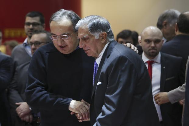 Former Fiat Chrysler CEO Sergio Marchionne with Tata Sons chairman emeritus Ratan Tata. Photo: Bloomberg