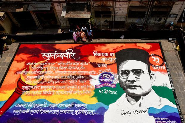 A 'rangoli' dedicated to Veer Savarkar at the BDD Chawl in Worli, Mumbai, prepared on the occasion of his birth anniversary in May. Photo: Hindustan Times