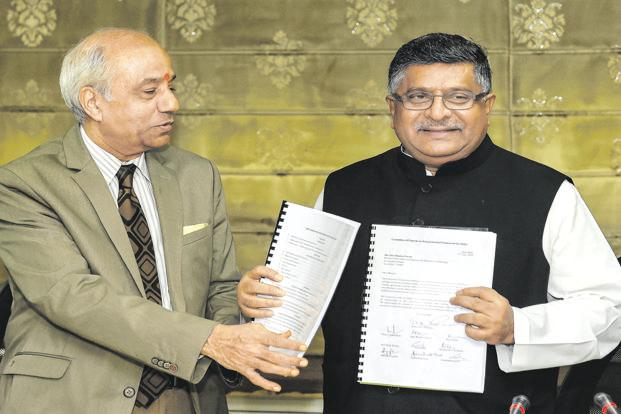 Law minister Ravi Shankar Prasad (right) with Justice B.N. Srikrishna. Photo: PTI