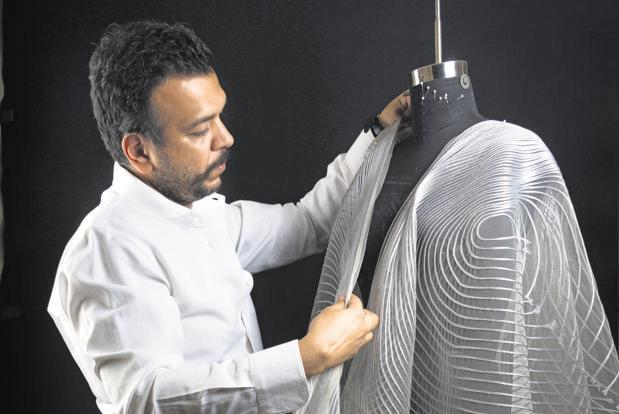 Amit Aggarwal is known for his sculptural designs and ingenious application of industrial materials.