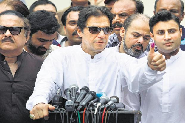 Imran Khan after casting his vote in Islamabad. Photo: PTI
