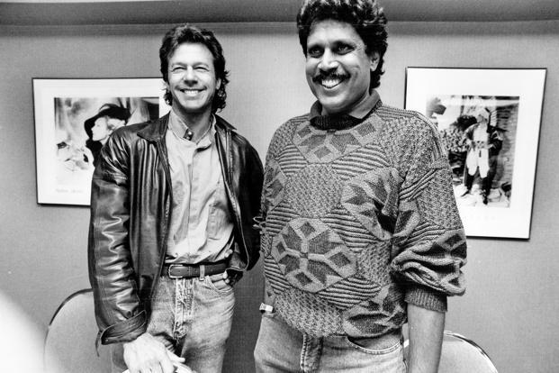 Imran Khan with former India captain Kapil Dev in Canada in 1992. Photo: Getty Images