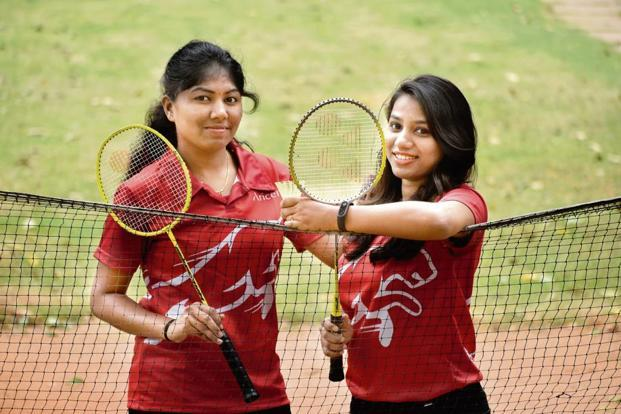 Shilpa T.C. (left) and Chaitanya S.H. connected through badminton. Photo: Jithendra M/Mint