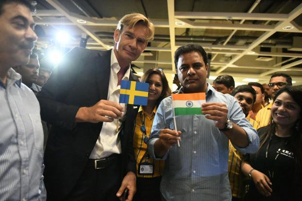 Ambassador of Sweden, Mr Klas Molin (left) with K. Taraka Rama Rao, state minister of Telangana,  at the Ikea store in Hyderabad. Photo: AFP