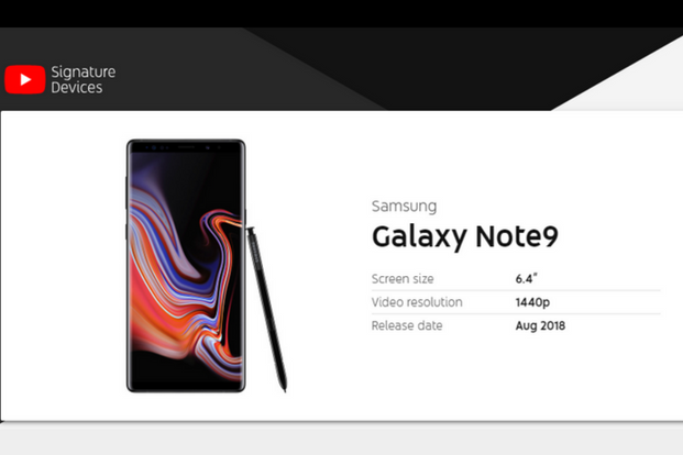 The Samsung Galaxy Note 9 features a 6.4-inch QHD+ Infinity Display, Qualcomm Snapdragon 845 processor, up to 8GB RAM and 1TB storage through MicroSD card. Photo: YouTube