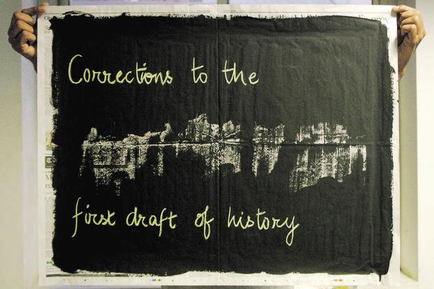 "The saying ""the first draft of history"" refers to the relevance of journalism. It reflects the motto of ""today's news is tomorrow's history"". Raqs Media Collective refuses to see history as static and set in stone. ""We regard it as a palimpsest that is permanently in flux due to overwriting, overlaying, and reinterpreting,"" they say. Made in 2014, the work uses newspaper, blackboard paint, chalk."