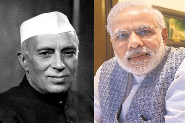 First Prime Minister of India, Jawaharlal Nehru, and 14th Prime Minister of India, Narendra Modi.
