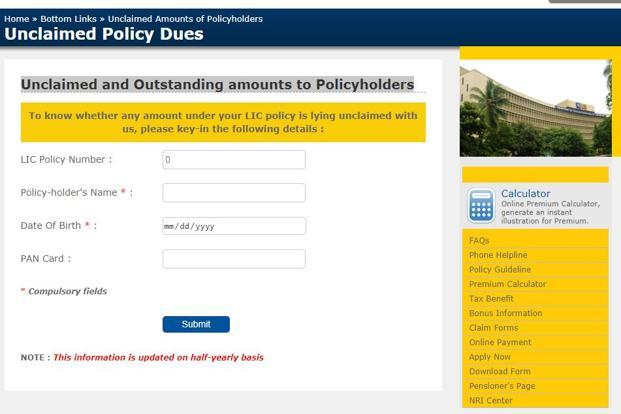 According to LIC's website, unclaimed amounts of policyholders is updated on a half-yearly basis.