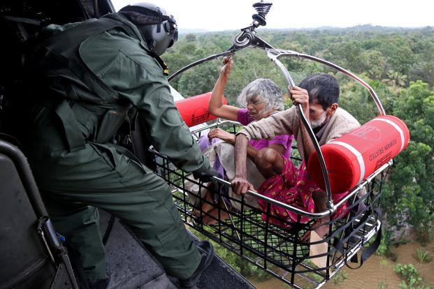 People being airlifted by the Indian Navy. Photo: Reuters