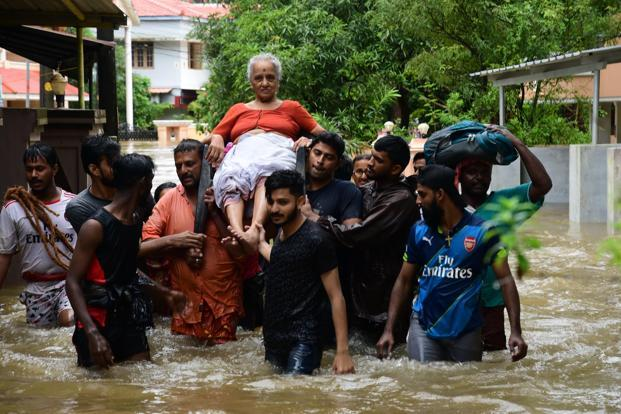 Young people have come out in full force—on the ground and virtually—to organize rescue efforts during the Kerala floods. Photo: PTI