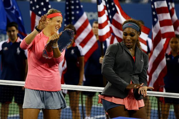 Winner Serena Williams (right) and runner-up Victoria Azarenka after the 2013 US Open final. Photo: Getty Images