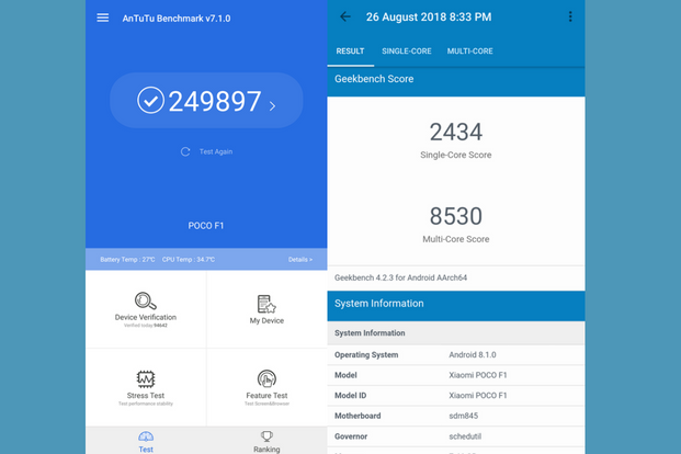 "Benchmark scores for POCO F1: AnTuTu (left) and Geekbench (right) </p> </div> <p>  Benchmark scores for POCO F1: AnTuTu (left) and Geekbench (right) ""title ="" Benchmark score for POCO F1: AnTuTu (til venstre) og Geekbench (høyre) ""/> </p> <p>  The phone is supported by a 4000mAh battery that lasts one and a half hours in light for moderate use. I did not have to worry about it even though I started the day with 80% charge. In a lazy weekend with high usage of games and Netflix streaming, you will clear it out within 9 hours, which is also not bad. </p><div><script async src="