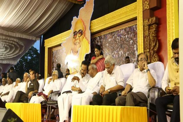 DMK chief M.K. Stalin with leaders from various parties during the prayer meet for Karunanidhi in Chennai on Thursday.