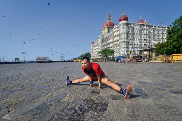 Praveen Kumar Teotia outside the Taj Mahal Palace hotel in Colaba, Mumbai. Photo: Aniruddha Chowdhury/Mint