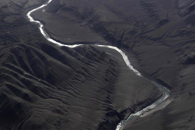 An aerial view of the Indus River in Jammu and Kashmir. A two-day high-level bilateral talks between India and Pakistan on the Indus Waters Treaty concluded in Lahore. Photo: AFP.