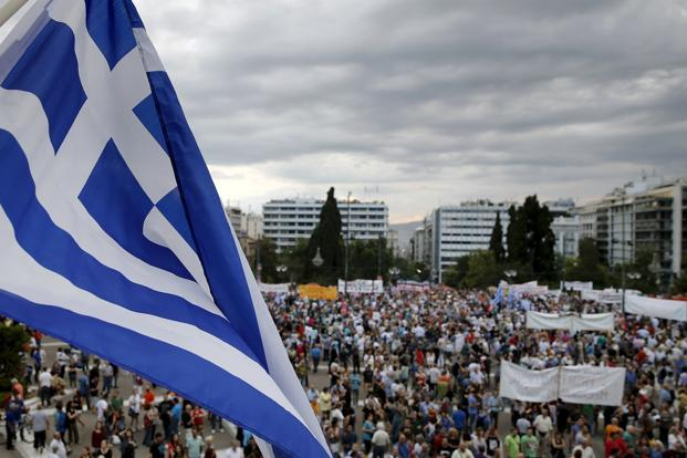 A file photo of an anti-austerity rally in at Athens in Greece in June 2015. Photo: Reuters