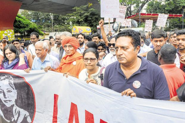 A rally in support of Gauri Lankesh in Bengaluru, Wednesday. Photo: PTI