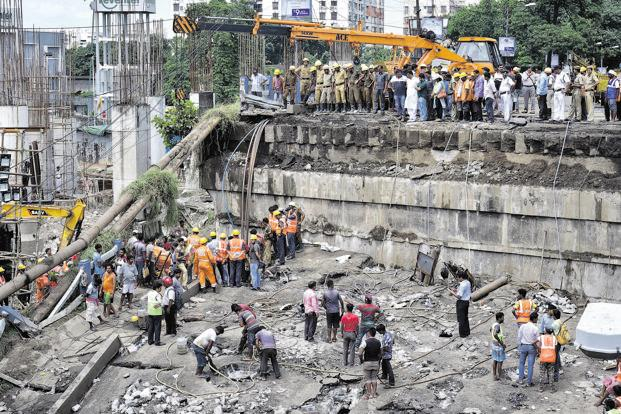 Rescue operations continue at the collapsed Majerhat bridge in Kolkata on Wednesday. Photo: PTI