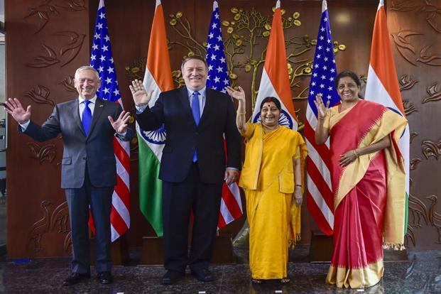 US secretary of defence James Mattis and US secretary of state Mike Pompeo with foreign minister Sushma Swaraj and defence minister Nirmala Sitharaman in New Delhi on Thursday