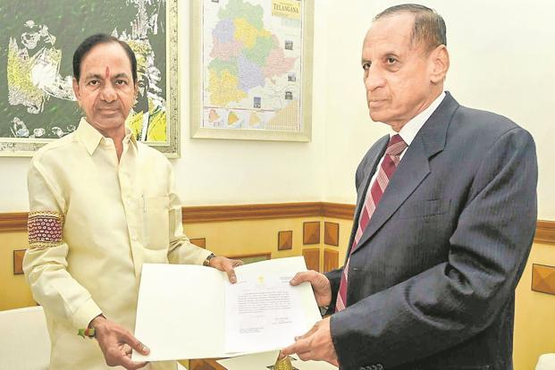 Telangana CM K. Chandrashekar Rao submits the TRS government's recommendation to dissolve the state assembly to governor E.S.L. Narsimhan in Hyderabad on Thursday. Rao and his cabinet will continue as the caretaker government till the next elections. Photo: PTI