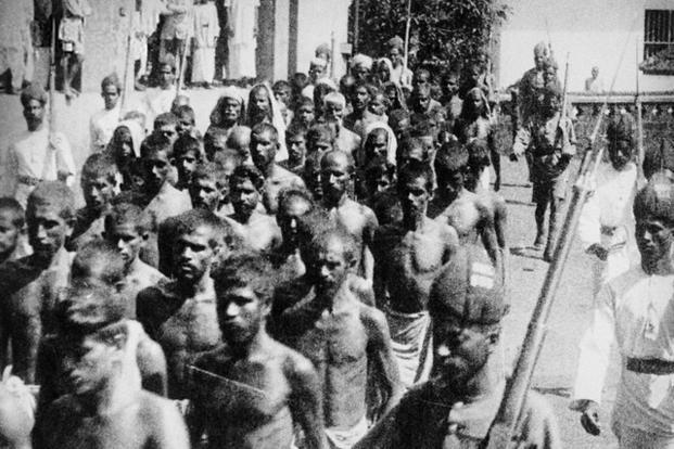 Mappila rebels captured after a battle with British colonial troops in 1921. Photo: Wikimedia Commons