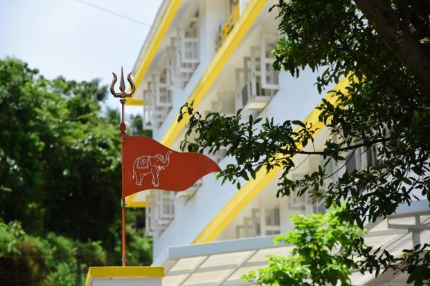 The Sanatan Sanstha flag. Photo: Abhiram Gahdyalpatil/Mint