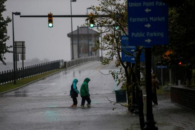 Hurricane Florence was downgraded to a Category 1 storm on the five-step Saffir-Simpson scale on Thursday evening and was moving west at only 6 mph (9 km/h). Photo: Reuters