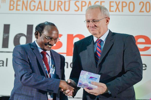 Isro chairman K.Sivan (Left) with French space agency President Jean-Yves Le Gall during Bengaluru Space Expo 2018, in Bengaluru. Photo: PTI