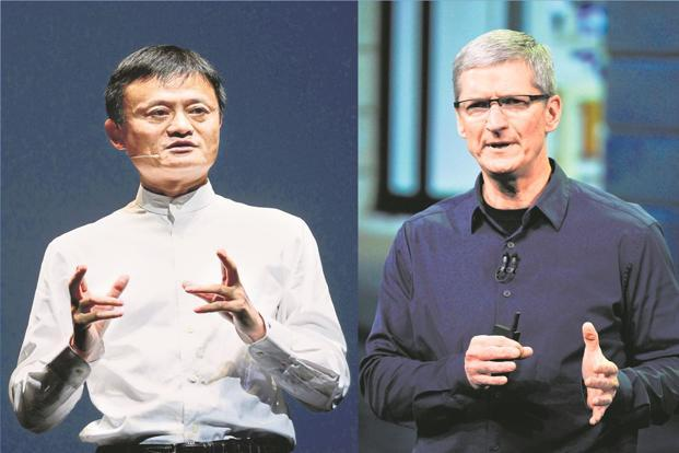 Alibaba chairman Jack Ma and Apple CEO Tim Cook