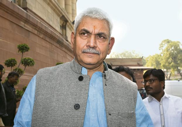 A file photo of telecom minister Manoj Sinha. Photo: HT