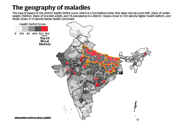 the 50 districts with the poorest health outcomes in india livemint