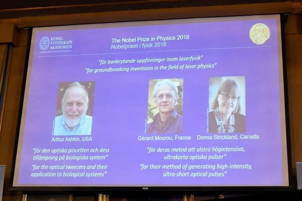 The Nobel Prize laureates for physics 2018 Arthur Ashkin of the United States, Gerard Mourou of France and Donna Strickland of Canada are announced at the Royal Swedish Academy of Sciences in Stockholm, Sweden. Photo: Reuters