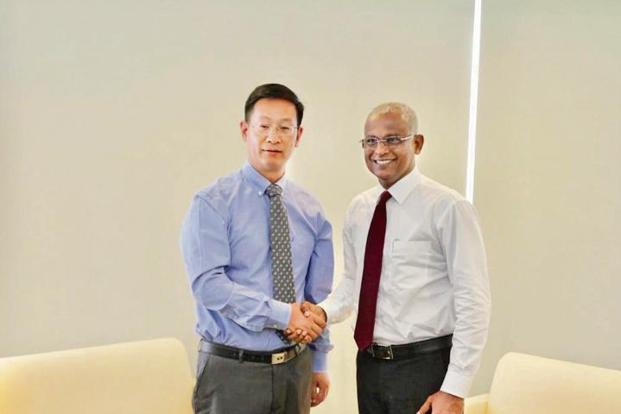 China's ambassador to Maldives Zhang Lizhong (left) with Maldivian president-elect Ibrahim Mohamed Solih.  Photo: Courtesy Twitter