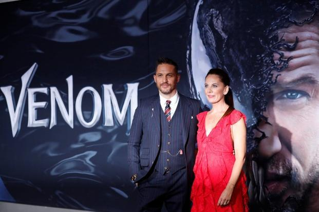 Cast member Tom Hardy and writer Kelly Marcel attend the premiere for the movie 'Venom' in Los Angeles, California, U.S., October 1. Photo: Reuters