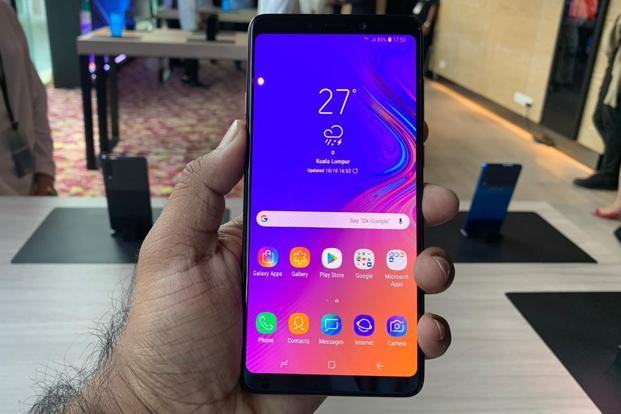 The Samsung Galaxy A9 sports a 6.3-inch Full HD+ Super AMOLED display with a resolution of 2220x1080. Photo: Kul Bhushan/HT