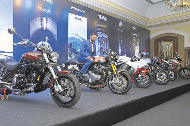 Motoroyale Kinetic managing director Ajinkya Firodia with the bikes launched Thursday.