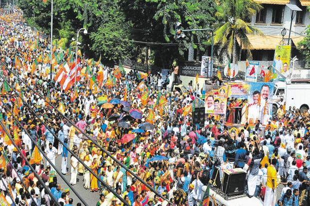 BJP holds protests against women's entry in Sabarimala