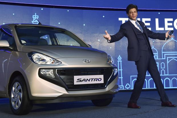 Bollywood actor and Hyundai brand ambassador Shah Rukh Khan at the launch of the new Santro, in New Delhi on Tuesday. Photo: PTI