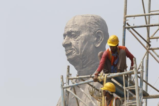 Nearly half of the 4,500 workers on the site of the Statue of Unity, labouring away to meet a tight deadline, were migrants.