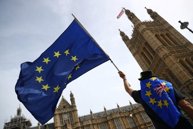 An anti-Brexit demonstrator waves flags outside the Houses of Parliament, in London. Photo: Reuters