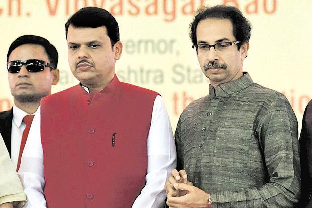 A file photo of Maharashtra CM Devendra Fadnavis and Shiv Sena chief Uddhav Thackarey. Photo: Mint