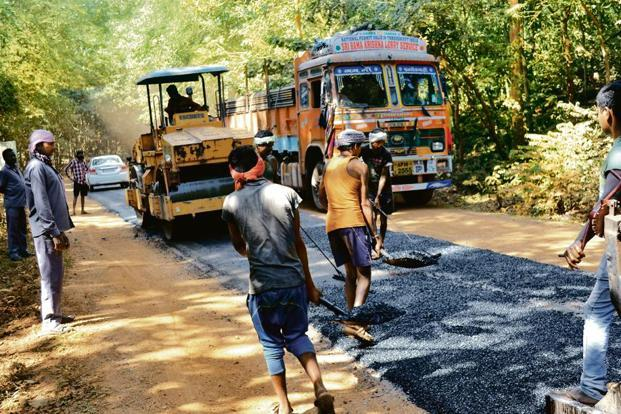 Road construction work in progress, en route to Sukma, Chhattisgarh. Photo: Vinay Sharma/ Mint (Vinay Sharma/ Mint)