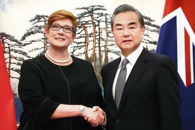 Australian foreign minister Marise Payne (left) with her Chinese counterpart Wang Yi in Beijing on Thursday. The meet is seen as a sign of a thaw in ties between the key economic partners. Photo: AP