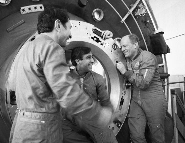 Members of the Soviet-Indian space crew (from left), Yury Malyshev, Sharma and Nikolai Rukavishnikov, at the Gagarin Cosmonaut Training Centre, Russia. Photo: Sputnik