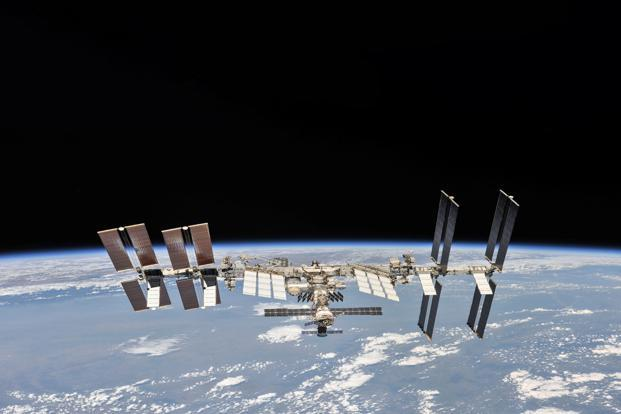 The ISS was photographed by Expedition 56 crew members from the Soyuz spacecraft after undocking. Photo: Reuters